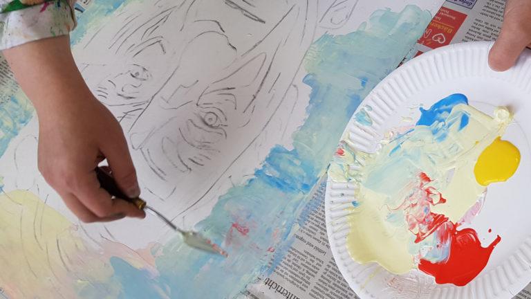 kunstschule portrait mit acryl spachteln